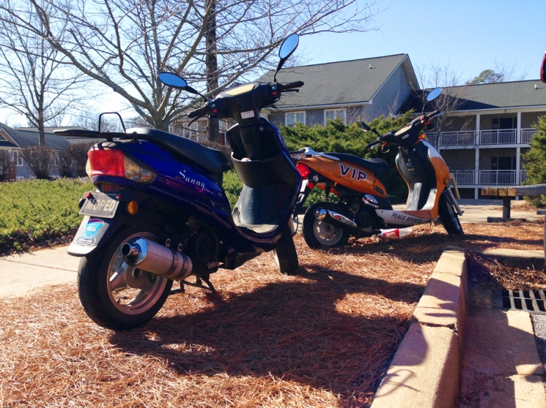 Photo courtesy of Dante Durrman Mopeds parked in a designated space outside of North Village B