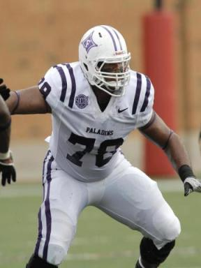 After impressing scouts in pre-draft workouts, CBSSports.com projects Furman offensive guard Dakota Dozier as the fifth best guard prospect in the draft, expecting him to be taken sometime during the third round as one of the top 100 drafts in this year's NFL draft.  Photo courtesy Furman Athletics
