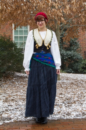 Junior Caroline Mitchell wearing an outfit in the Japanese dolly kei style, which combines vintage clothing found at thrift stores to reinterpret historical fashions Photo courtesy of Bryan Betts