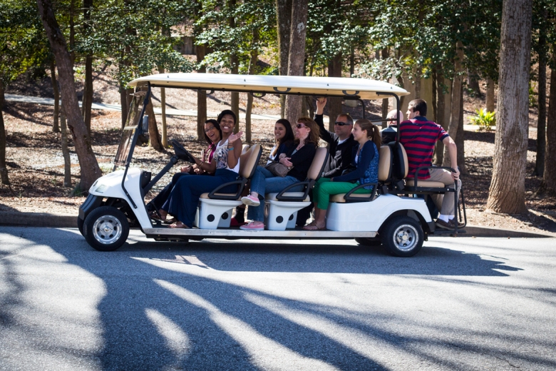 Recently admitted prospective students and their families rode around campus on golf carts March 21 and 22 during Furman's annual Accepted Students Days. Events included tours and meet-and-greets with other accepted students. Photo courtesy of Dante Durrman