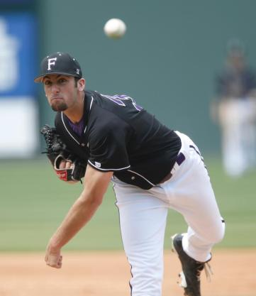 Senior Ryan Dittmar threw 3.1 scoreless innings against Davidson on Saturday in his most successful relief outing of the season. Photo courtesy of Furman Athletics