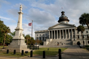 The confederate flag waving outside South Carolina's State House prior to it's removal.