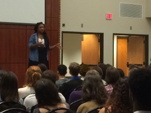 Alicia Garza, co-founder of the Black Lives Matter movement, discussed the movement's history Sept. 15.