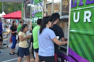 The first Food Truck Fest rolled in for dinner Mon., Aug. 31 from 5 to 7:30 p.m. Aramark hopes to make the food trucks a weekly Wednesday addition to student dining.  Photo courtesy of Csaba Szabo