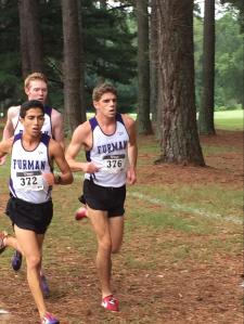 Cross country runners Troy Reeder, Frank Lara and Josh Brickell in full stride as Furman runs to a great finish.  Photo courtesy of Taylor Adams