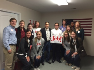 "Furman students supporting former Florida Gov. Jeb Bush stand with Jeb Bush Jr. at the new Greenville campaign office. Students are a part of ""Mission: Next"" -- a campaign project to attract young voters. Photo courtesy of Gloria Taylor"