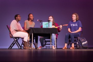 Tre'Dessa Smalls, Anna Wilson, Allison Davis, and Katherine West perform during the Family Weekend Talent Showcase hosted by Phi Mu Alpha. Photo courtesy of Sophie Harris