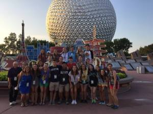 Sophomore Shucker Leadership Institute fellows enjoy downtime at Epcot during the Disney Leadership Experience. The group was the first cohort of fellows to participate in the leadership conference through Shucker. Photo courtesy of Shucker Leadership Institute
