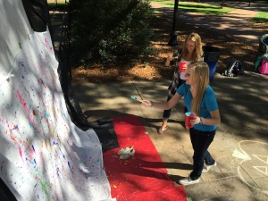 Students created splatter paint paintings and many other forms of art while relieving stress at Alpha Phi Omega's Art Therapy event.