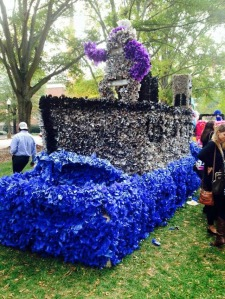"""Photo: Delta Gamma and Tau Kappa Epsilon's """"Battleship"""" themed float was one of the many floats that students slaved over during homecoming. Photo courtesy of Katelin Beals"""