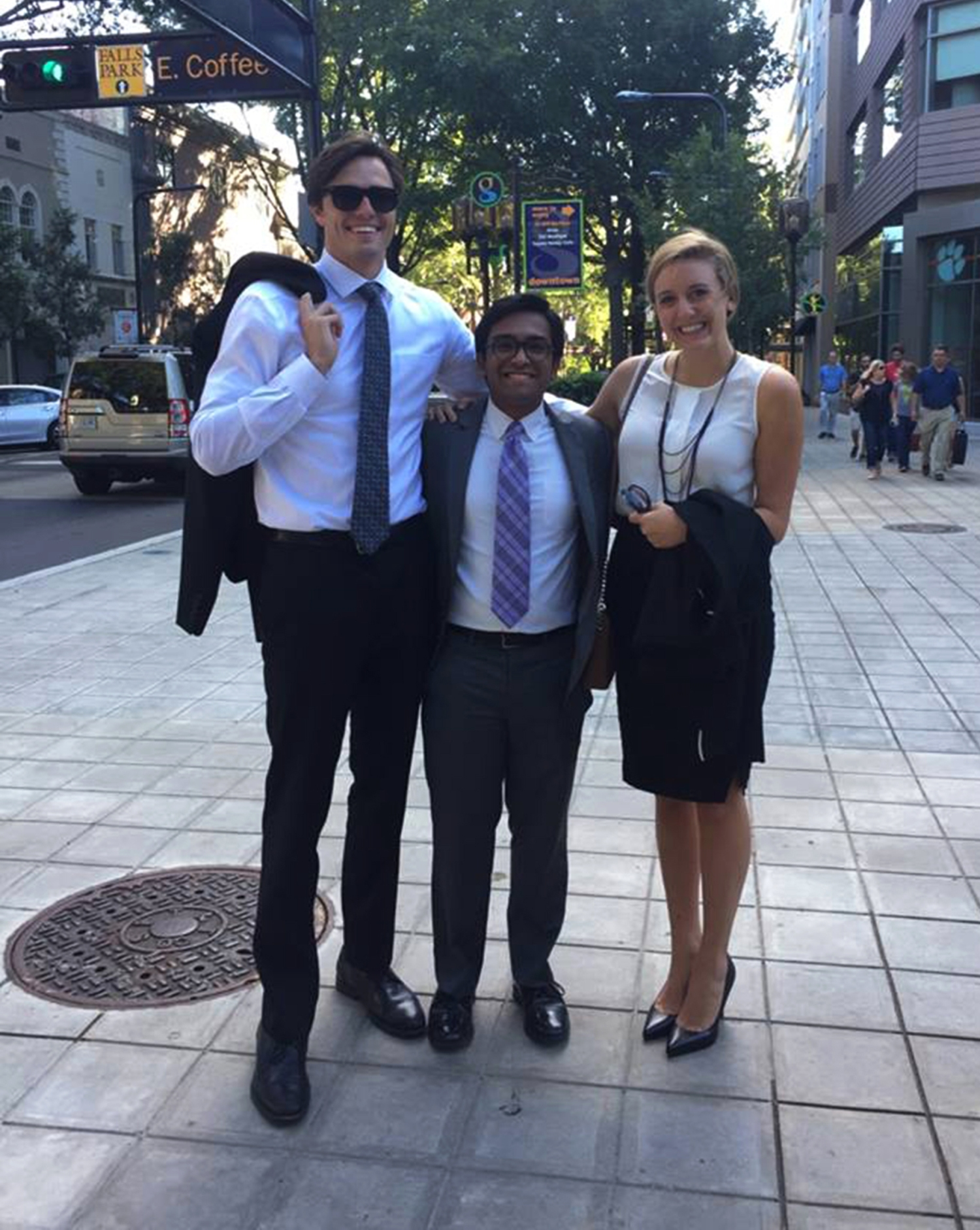 Left to right Furman students Ben Longnecker, '17, Sulaiman Ahmad, '18 and Katherine West, '19, after the afternoon hearing Oct. 6 to determine if college students in Greenville County can register to vote with an on-campus address. Photo courtesy of Ben Longnecker.