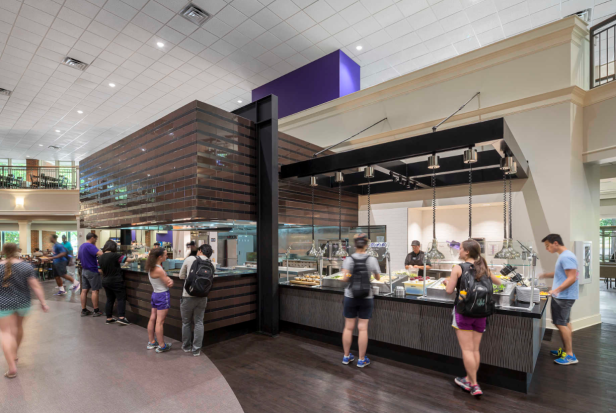 Furman students in the Aramark Dining Hall of yore. Marian Baker recalls harrowing dining experiences. Photo courtesy of DP3 Architects.