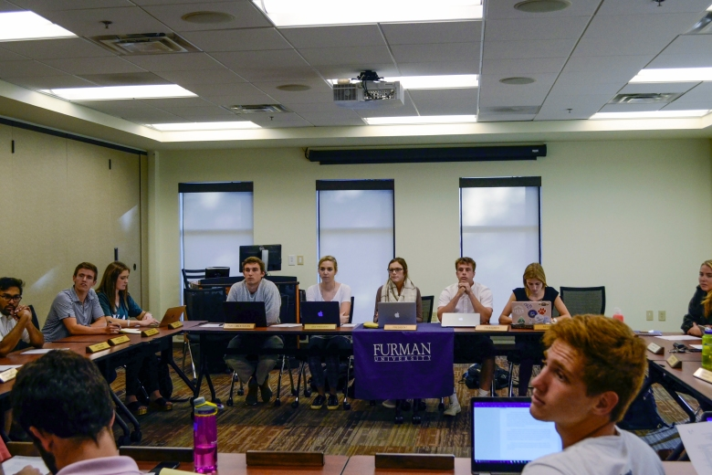 SGA holds their weekly meeting to discuss matters around campus. Earlier in the year SGA decided to cut every SGA funded organization by 20 percent. This decision has had a profound affect on many campus organizations. Photo courtesy of Tucker McKillop.